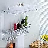 Aluminum Towel Holder - Wall Mount Towel Holder - Multi-function Aluminum Silver Bath Towel Shelf Washcloth Rack Holder With 5 Hooks (Towel Hooks Shelf)