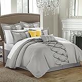hampton house - House of Hampton Stylish Elegant Argill Silver 8 Piece King Size Comforter Set, 1 comforter, 1 bed skirt, 2 pillow shams, 2 euro shams, 2 decorative pillows