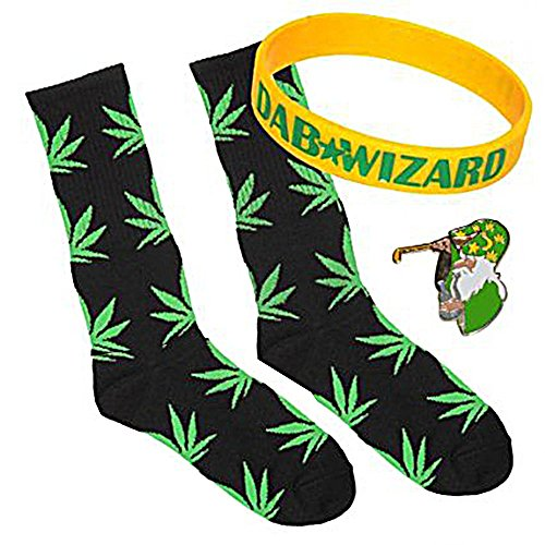 Black Socks Green Leaf Fashion Marijuana Weed Leaf Crew Socks Cannibis Plant Life High Socks , Yellow Wristband and Green - Wristbands Marijuana
