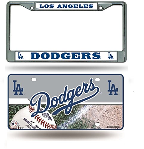 Rico Industries Los Angeles Dodgers Chrome License Plate Frame & Dodgers Metal Tag License Plate ()