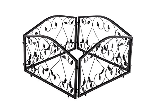 CLP 4er Set Beetzaun BENNETT, Eisen massiv, B 4 x 57 cm = 228 cm, Höhe 34 cm, endlos erweiterbar, Beeteinfassung mit wunderschönen Verzierungen schwarz