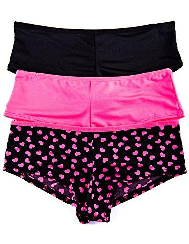 Junior's 3 Pack Hipster Panties (Medium, Black/Pink Hearts)