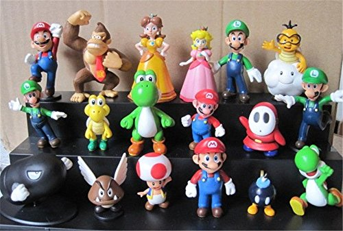 Oliasports Super Mario Brothers Action Figures Set (18 Piece), 2""