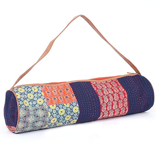 JaipurSe Premium Designer Artisan made Kantha Full-Zip Yoga Exercise Mat Carry Bag with Multi-Functional Storage Pockets