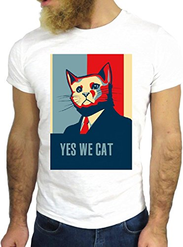 T SHIRT JODE Z1537 YES WE CAT ANIMAL POP ART PETS FUNNY SMILE COOL FASHION NICE GGG24 BIANCA - WHITE M