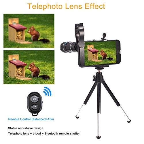 Phone Camera Lens for Iphone , MSDADA Telephoto Lens Kit, 12X Optical Telescope, Fisheye, Wide Angle and Macro Lens, Retractable Tripod with Bluetooth Shutter for IPhone, Samsung, Most of Smartphone