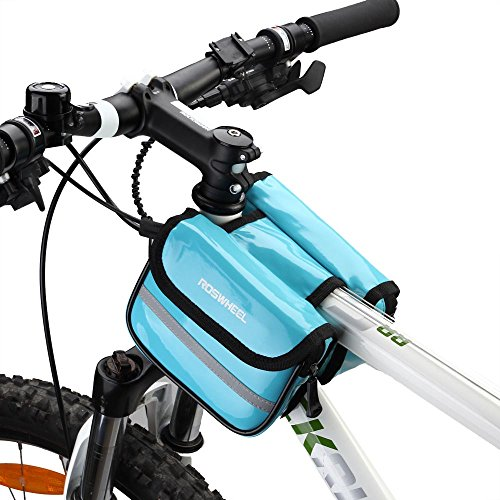 ezyoutdoor Bicycle Frame Double Pouch,Waterproof Resistant Cycling Top Front Tube Pouch Bike Frame Bag Cycling Front Pack Pipe Pouch Tool Bag,Random Color