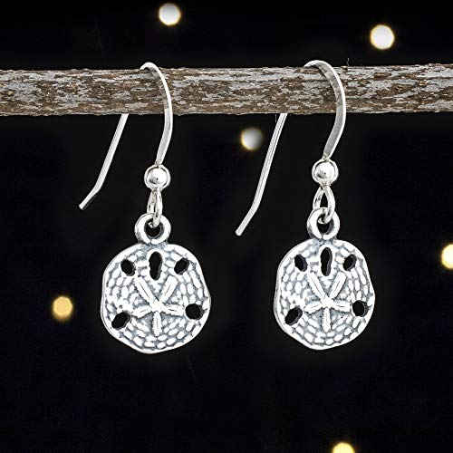 Sterling Silver Tiny Sand Dollar Earrings - Solid .925 Sterling Silver, Ready to Ship