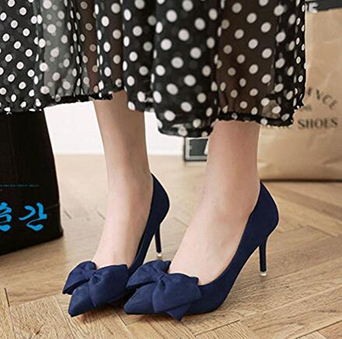 CHFSO Womens Fashion Stiletto Bow Solid Pointy Slip On Low Top High Heel Pumps Dark Blue L8Sxv