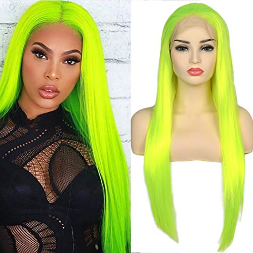 BLUPLE Fluorescent Green Synthetic Lace Front Wigs Long Silk Straight Bright Yellow Green Wig with Free Part High Temperature Fiber For Women Party Show (22 inches, Straight,Bright Yellow Green)