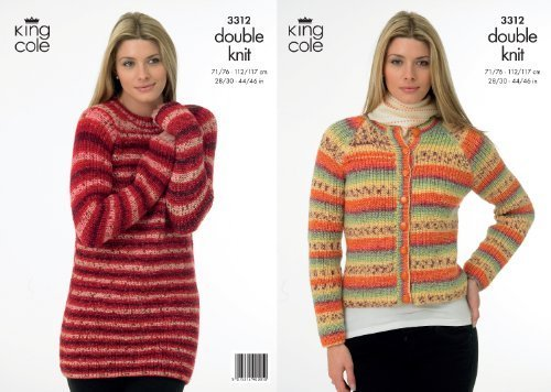King Cole Ladies Double Knitting Pattern Womens DK Knitted Sweater & Jacket 3312 by King Cole by King Cole