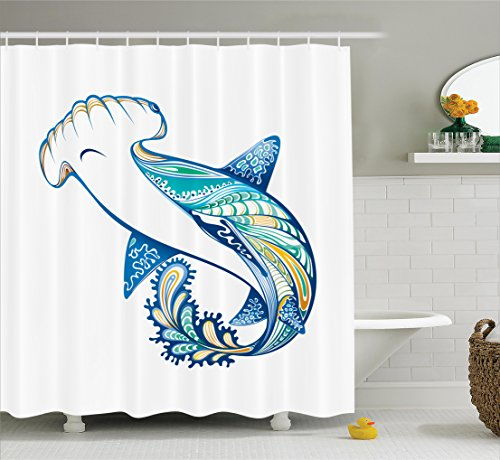 Ambesonne Abstract Home Decor Shower Curtain Set, Hammer Head Shark Ornate Underwater Sea Ocean Life Animals Marine Theme Image, Bathroom Accessories, 75 Inches Long, Blue Aqua White Marine Life Set