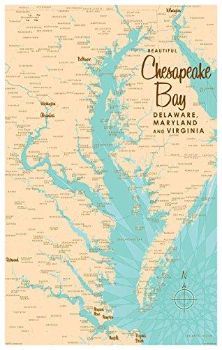 Chesapeake Bay MD Virginia Map Vintage-Style Art Print by Lakebound (12