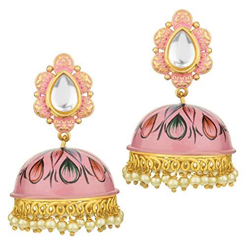 Aheli Beautiful Floral Printed Enamel Jhumki Ethnic Wedding Wear Drop Dangle Earrings Indian Fashion Jewelry for Women Girls]()