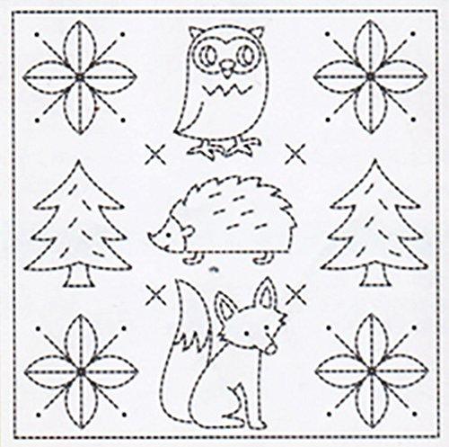 Sashiko Fabric - Pre-printed Sashiko Sampler - # 1031 - Owl, Porcupine Fox - White - NEW DESIGN ()