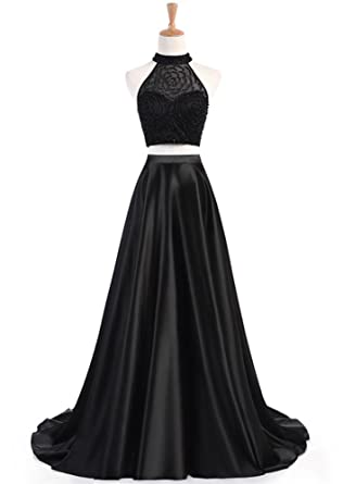 Womens Two Pieces Prom Dresses Beaded Evening Formal Gowns Halter Black,2