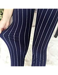 XuBa Leggings para Mujer Pantalones Leche Negra Estampado de Polainas Estilo de Verano Material de Piel Suave Nueve Mujeres Leggins B45 One Size
