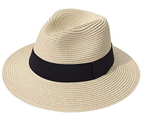 (AVIGOR Women Wide Brim Straw Panama Roll up Hat UPF50+ Fedora Beach Sun Hat (Khaki,Head Size: 21