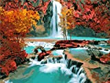 "FidgetFidget Water Fall Landscape Autumn Season 18CT Mono Deluxe 12"" X 15"""