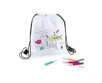 Lote 25 Mochilas Infantiles para Colorear y Pintar, Cada una Incluye 5 rotuladores. Regalo Ideal para Fiestas de cumpleaños, colegios, guarderías, ...