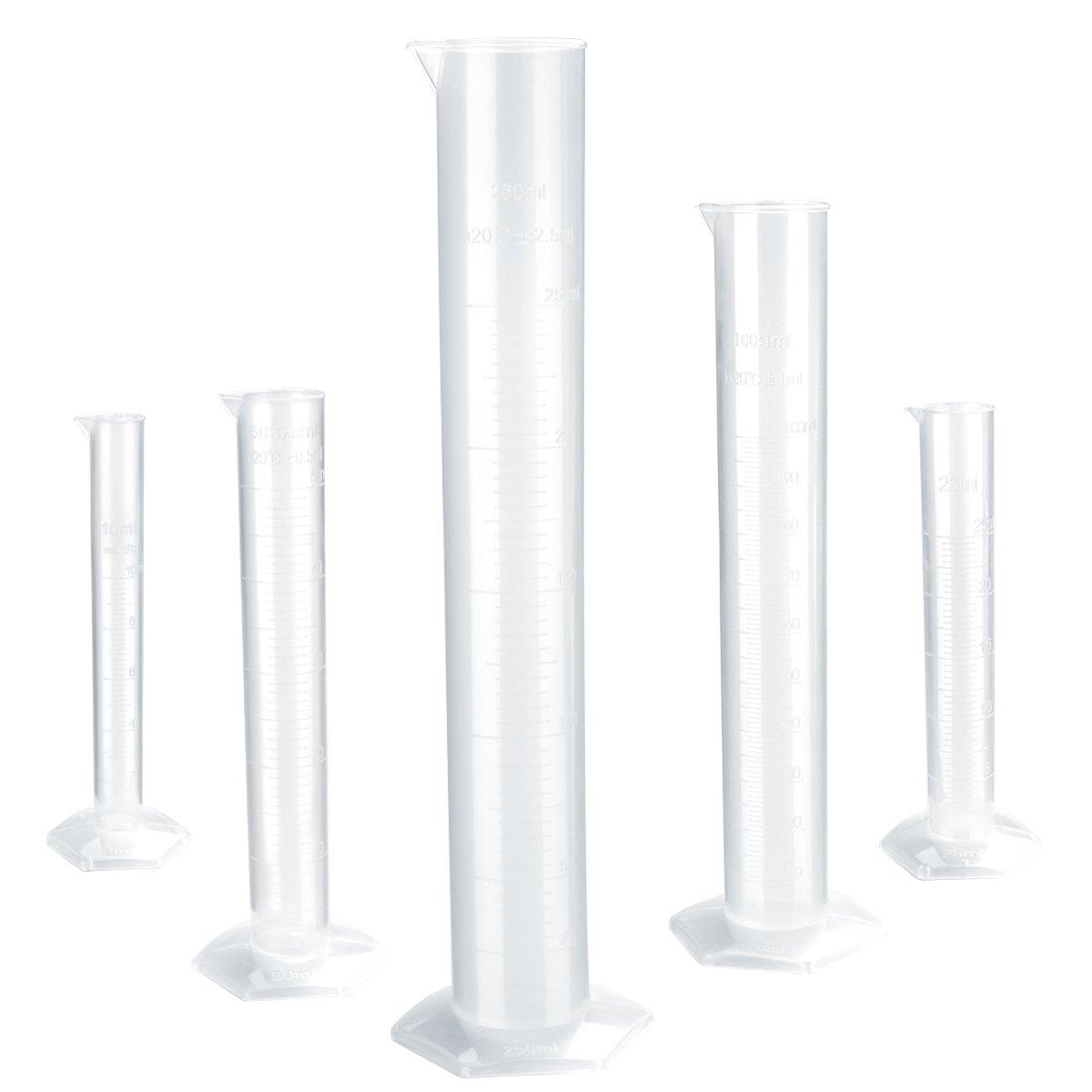 UEETEK Cilindro Graduado Laboratorio Probeta Plástico Transparente 10ml 25ml 50ml 100ml 250ml 5 Unidades
