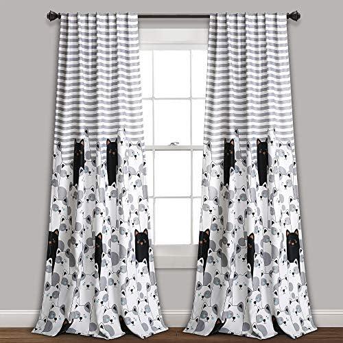 Lush Decor Stripe Bear Curtains Kids Cartoon Animal Print Pattern Room Darkening Window Panel Set for Living, Dining, Bedroom Pair , 84 x 52 , Gray and Black, Gray Black