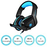 PHOINIKAS Gaming Headset for Headphone Noise Cancelling Over Ear Headphones with Mic LED Light Bass Surround for PS4 PC Xbox One Controller, H-1 Computer Gaming Headsets (Blue)