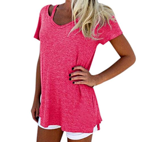Kshion-Women-Summer-V-Neck-Short-Sleeve-T-Shirt-Casual-Tee-Tops-Blouse