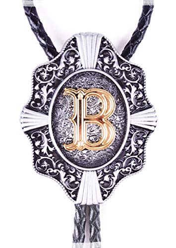 Golden Initial in Flower Nursery Cowboy Bolo Tie with Cowhide Rope (B) ()