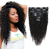 Kinky Curly Clip in Human Hair Extensions Natural Color Double Wefts For African American Women Full Head Wavy Hair Extension Clip Ins 12 inch 120Gram 7Pcs/Set Natural Black