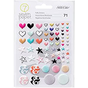 American Crafts 71 Piece Studio Calico Seven Paper Baxter Puffy Stickers Shapes