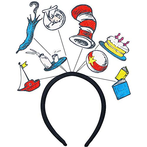 Costumes USA Dr. Seuss Cat in the Hat Glitter Headband 4 1/2 x 5 Inches -