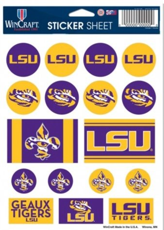 NCAA Official Louisiana State Tigers 5''x7'' Sticker Sheet