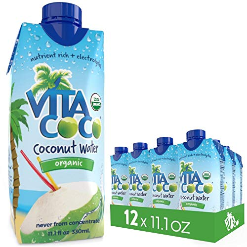 (Vita Coco Organic Coconut Water, Pure - Naturally Hydrating Electrolyte Drink - Smart Alternative to Coffee, Soda, and Sports Drinks - Gluten Free - 11.1 Fluid Ounce (Pack of 12))
