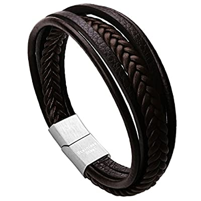 Leather Bracelet Magnetic-Clasp Cowhide Braided Multi-layer Wrap Mens Bracelet, 8''-8.7''