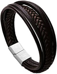Leather Bracelet Magnetic-Clasp Cowhide Braided Multi-layer Wrap Mens Bracelet, 7.5''-8.7''