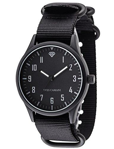 Yves Camani Unisson Mens Quartz Watch Black Analog Display 2 Nylon Nato-Straps YC1084-E