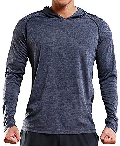 (Rdruko Men's Hoodies Pullover Long Sleeve Casual Lightweight Thin Hooded Sweatshirts(Grey, US L))