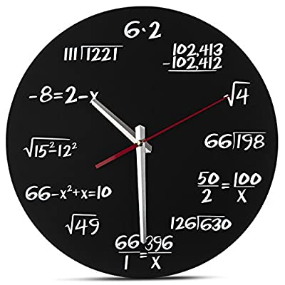 Decodyne Math Clock - Unique Wall Clock - Each Hour Marked By a Simple Math Equation