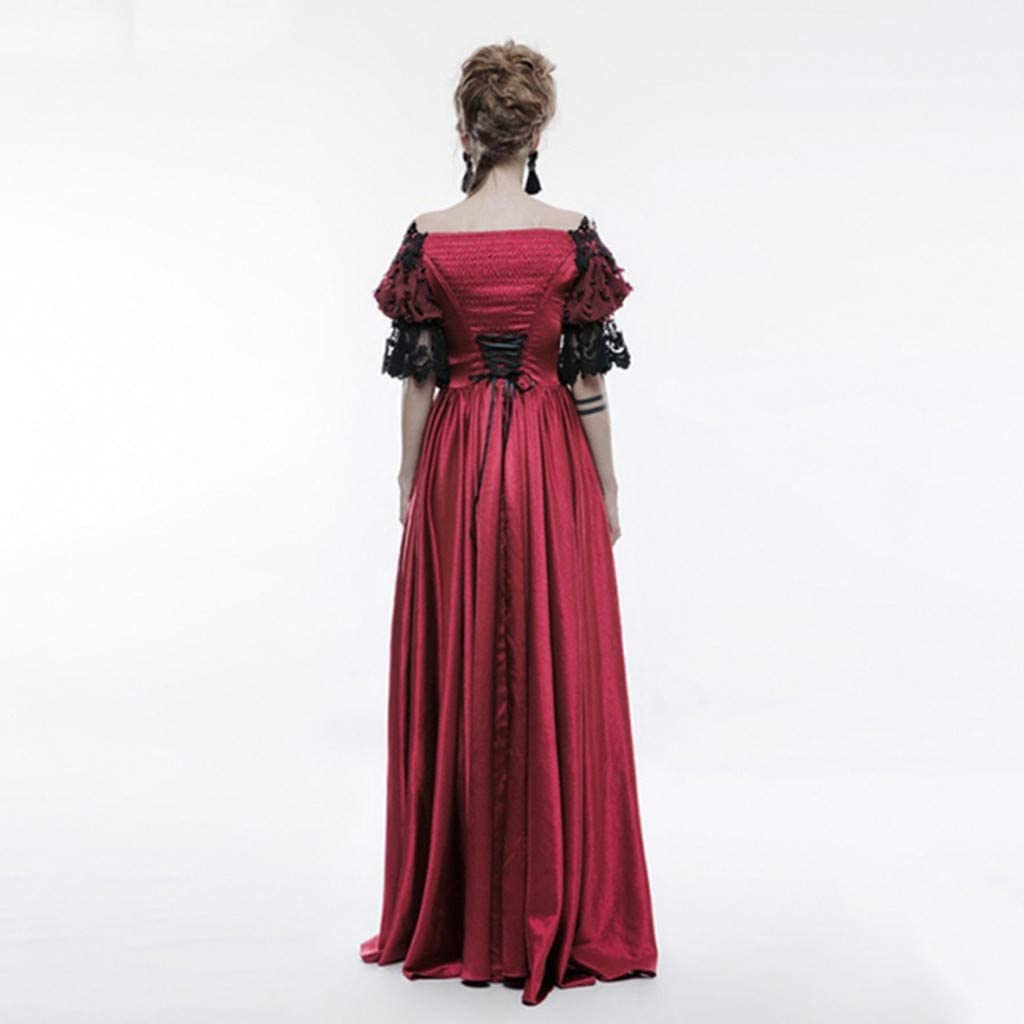 CCOOfhhc Party Dresses,Womens Retro Gothic Off The Shoulder Flare Maxi Dress Renaissance Cosplay Floor Length Dress