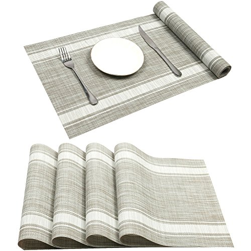 Placemats For Dinning Table, Uu0027Artlines Soft Woven Vinyl Placemats For  Home, Kitchen,Office Snd Outdoor Elegance And Simple Design (4pcs Placemats+1  Table ...