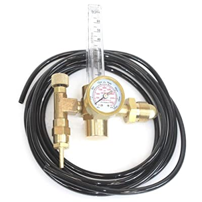 QuestCraft Argon CO2 Mig Tig Flow Meter Welding Weld Gas Regulator Gauge CGA580 w/ 12' Hose