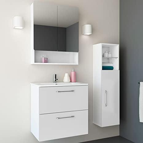 Randalco 24 Inch Bathroom Vanity With Sink White 24 X 24 X 18 Floating Bathroom Vanity Medicine Cabinet With Mirror Linen Cabinet Countertop Sink Amazon De Home Kitchen