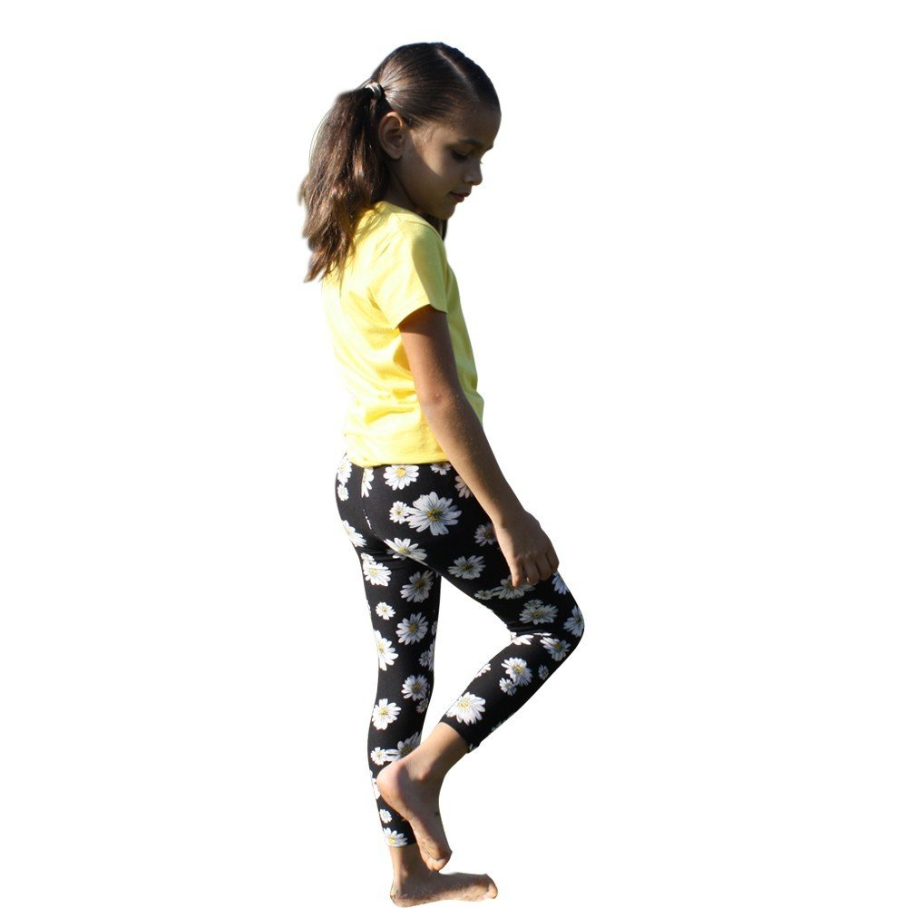 Big Girls Multi Color Daisy Floral Patterned Stretchy Leggings YL/YXL
