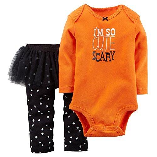 Carter's Baby Girls' Halloween Bodysuit & Tutu Pant Set (3 Months, Orange/Black)