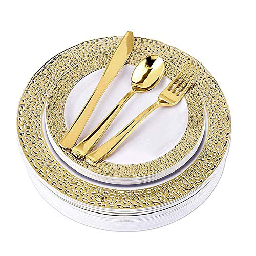 Gold Disposable Plates and Cutlery for Wedding - 125 Piece Elegant Plastic Plates with Gold Silverware Dinner, Reception, Buffet - Service for 25 Guests Disposable Wedding Plates (Gold - Plate Gold Buffet