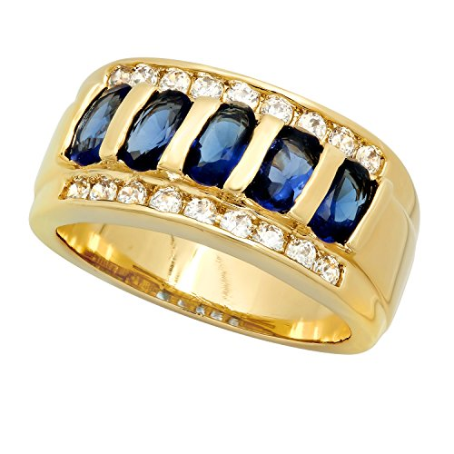 The Bling Factory Gold Plated Channel Set Blue Oval & Clear Round Czs Band Ring, Size 10 + Jewelry Cloth & Pouch