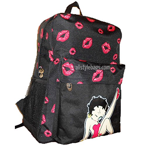 Betty Boop Canvas Printed - Betty Boop Black Book Red Heart Kick School Sport Pockets L Backpack Bag