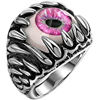 Siam panva Fashion Gothic Evil Eye Ball Design Charm Ring Punk Finger Jewelry Gift Innovate ( Red) (8)
