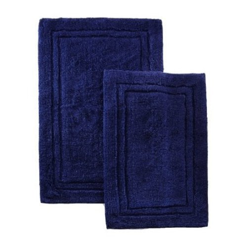2 PACK Combed Cotton Bath RUG Or Shower RUG NAVY By MARRIKAS
